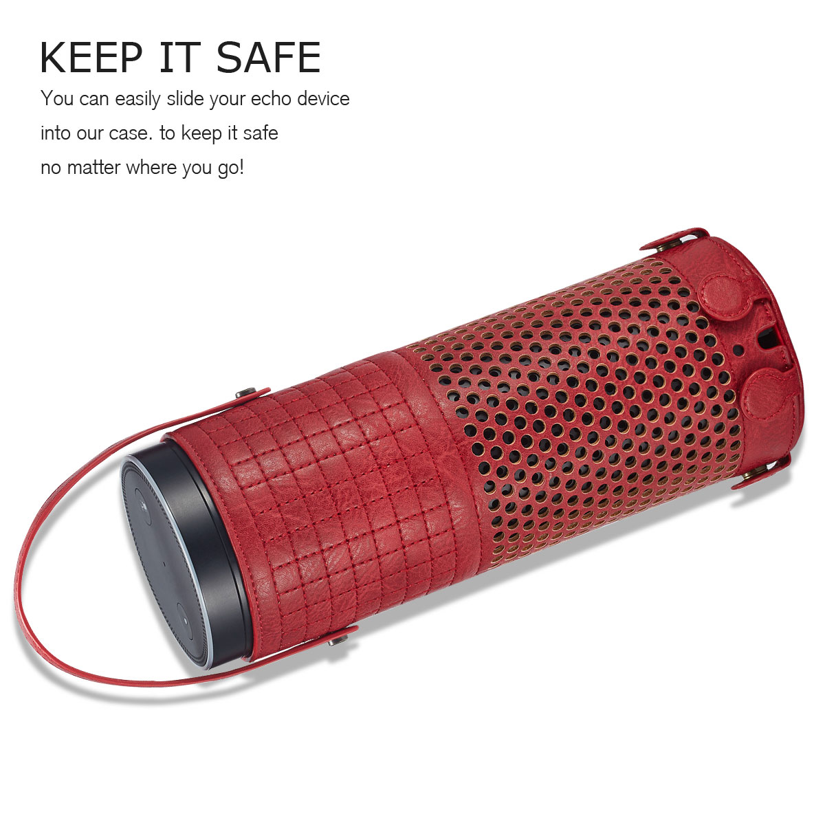 Plus Stylish PU Leather Portable Pouch Protective Case Cover For Amazon Echo