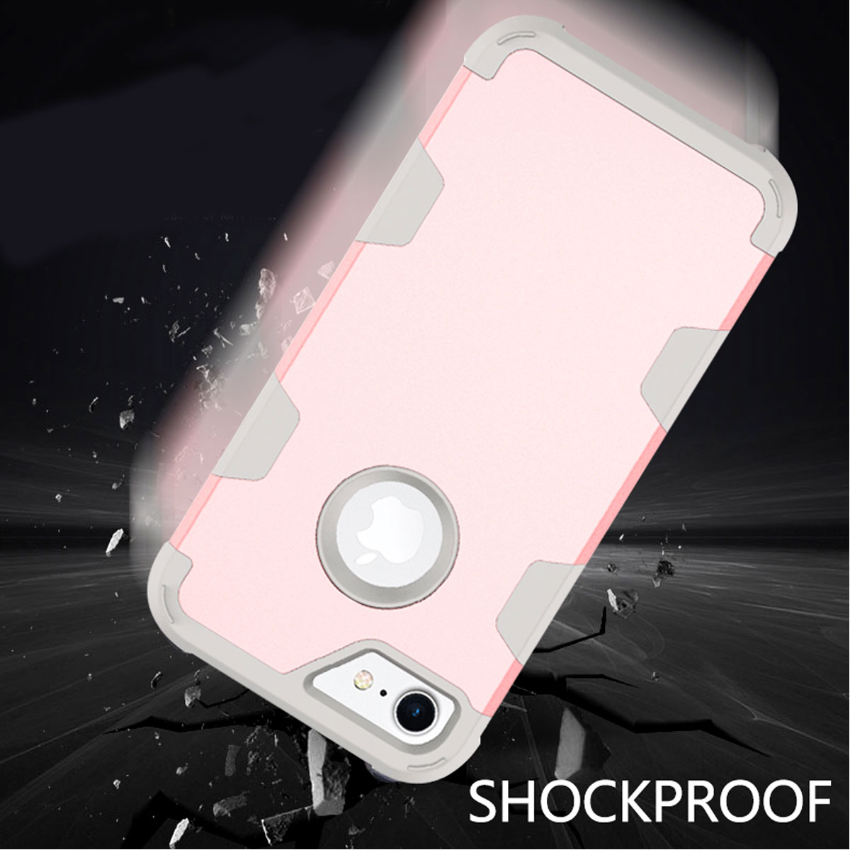 Hybrid Rugged Shockproof Hard Rubber Phone Case Cover For iPhone 6 6s 7 8 Plus X