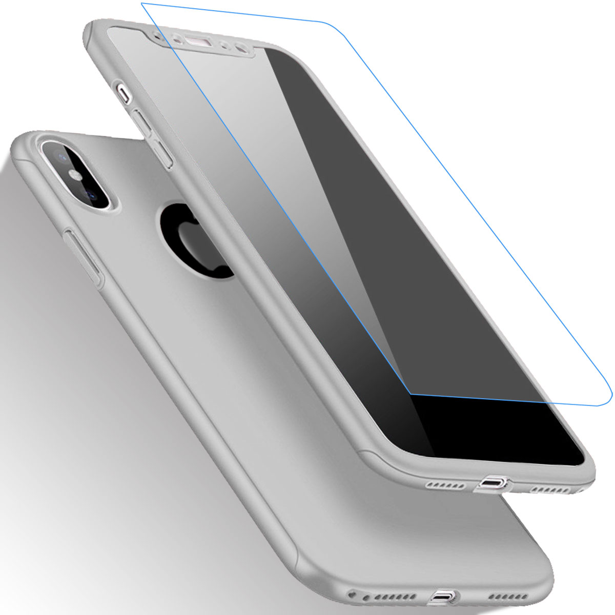 Full Body Slim Hard Case Tempered Glass Screen Protector For Apple Iphone Xs X Spigen Anti Shock With Stand Armor Casing Satin Silver