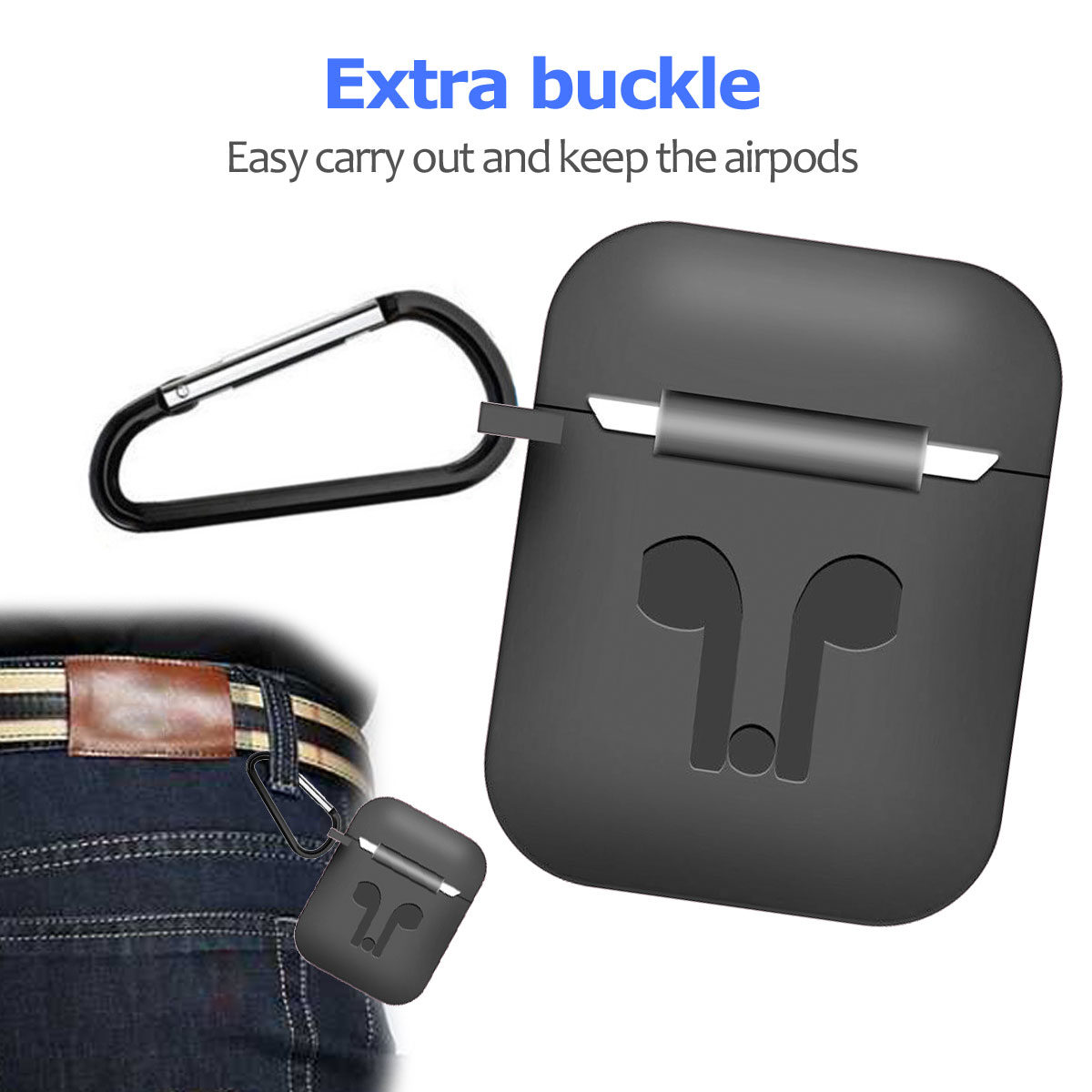 Silicone Earbuds Holder Case Cover + Strap For Apple