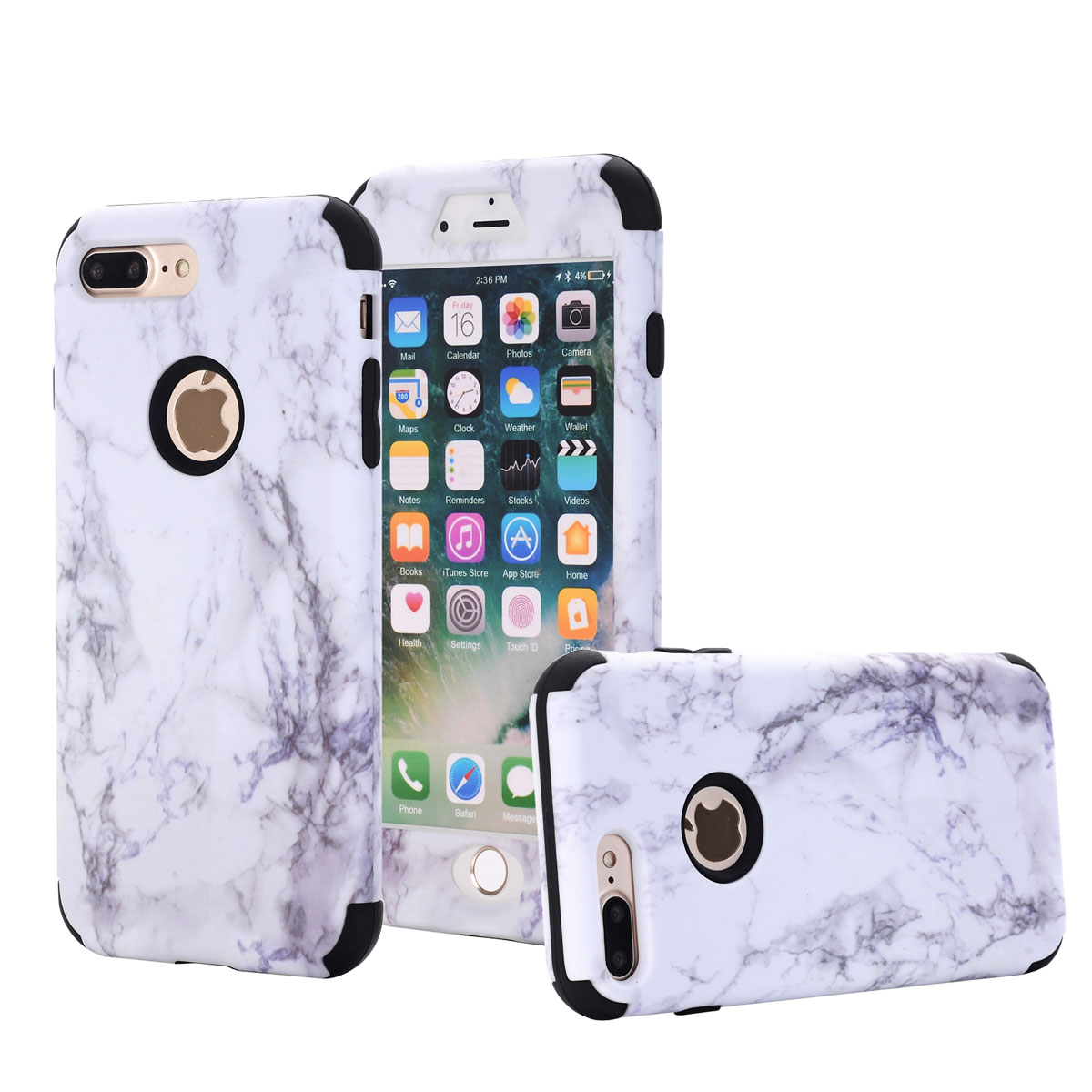 san francisco 0b3f6 9849e Details about Hybrid Rugged Granite Marble Protective Hard Cover Case Cute  For iPhone 7 8 Plus
