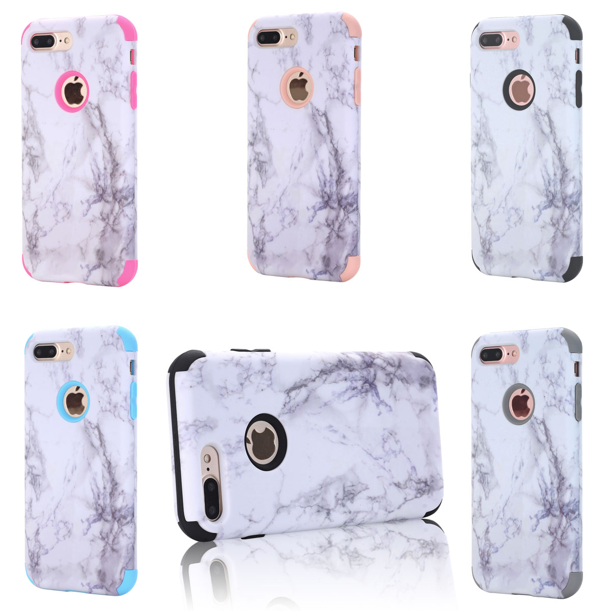 For Iphone 8 8 Plus Elegant Slim Retro Granite Marble