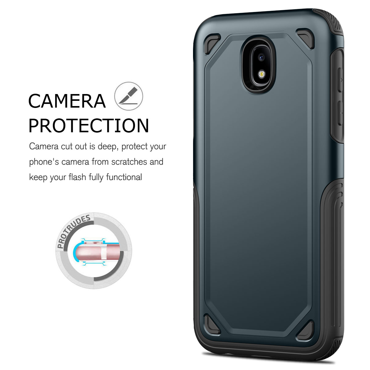 For Samsung Galaxy J3 J5 J7 Pro 2017 Slim Hybrid Shockproof Rubber Tough Case