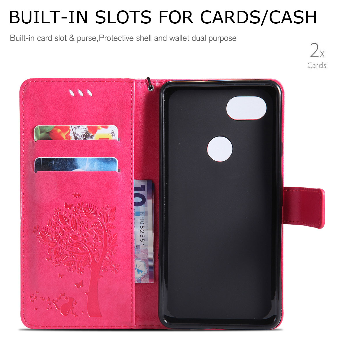 Magnetic-Leather-Credit-Card-Holder-Flip-Case-Cover-For-Google-Pixel-2-2-XL thumbnail 41
