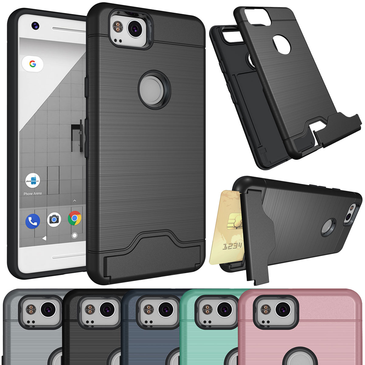 newest 65cc0 afaca Details about For Google Pixel 2 / Pixel 2 XL Shockproof Wallet Card Stand  Hybrid Rubber Case