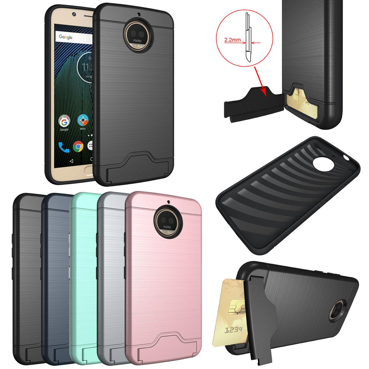 huge selection of 1185e 4d1ba Details about For Motorola Moto G4 / G4 G5s Plus Credit Card Holder Hybrid  Rugged Wallet Case