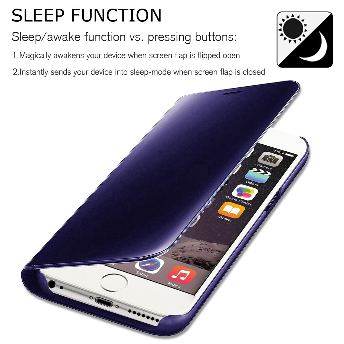 Mirror Flip Cover Phone Case For iPhone