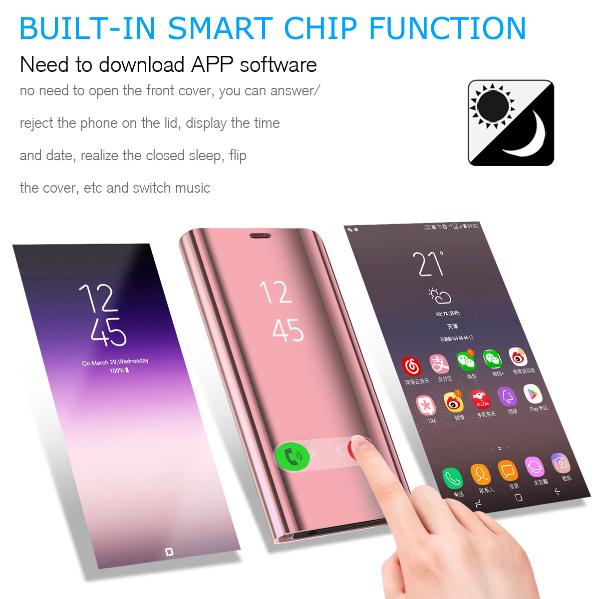 Details about For Samsung Galaxy A7 A9 A9 Star 2018 Smart Phone Case Mirror  Flip Window Cover