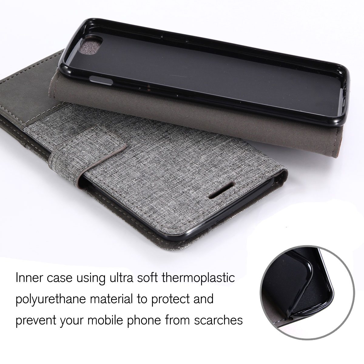 buy online bdc1b 7cf42 Details about For Oneplus 3 / 3T Card Wallet Flip Canvas Shockproof Hybrid  Magnetic Case Cover