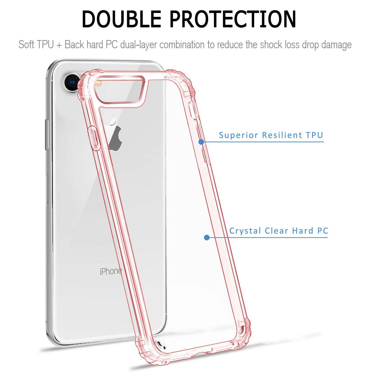 huge selection of 93050 1a438 Details about TPU Bumper Shockproof Hard PC Back Clear Case Cover For Apple  iPhone 6 6s Plus