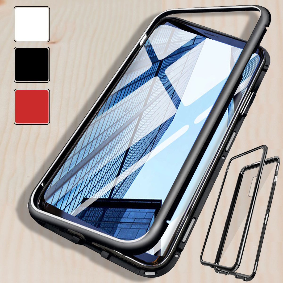magnetic phone case hard glass cover