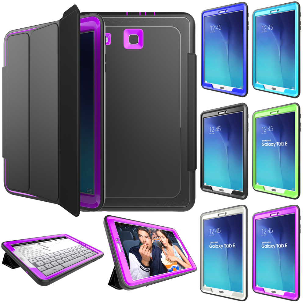new arrival a33e7 6cb18 Details about Shockproof Rubber Stand Case Flip Folio Cover Fr Samsung  Galaxy Tab E 9.6