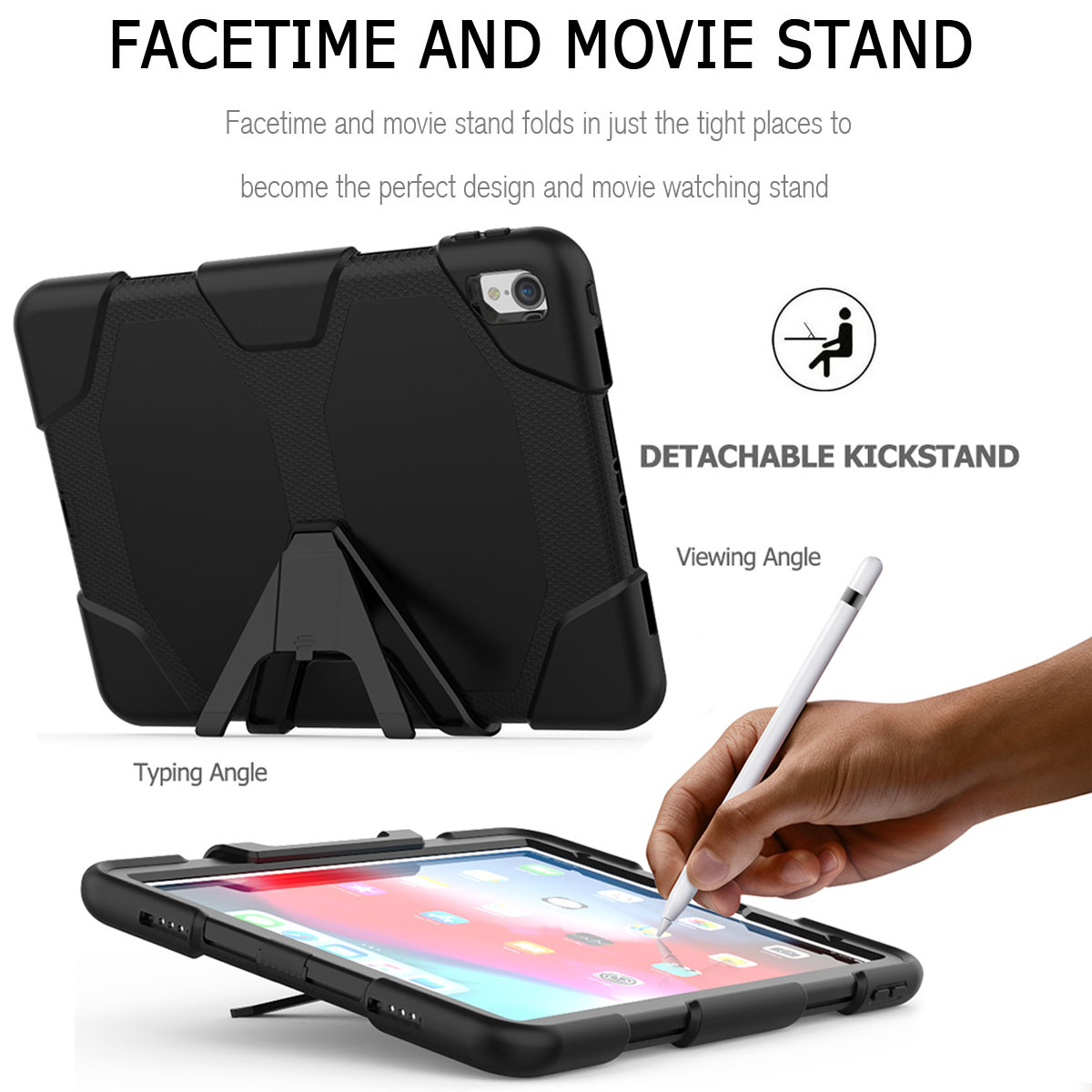 For-Apple-iPad-Pro-11-034-Inch-2018-with-Screen-Protector-Shockproof-Hybrid-Case thumbnail 15
