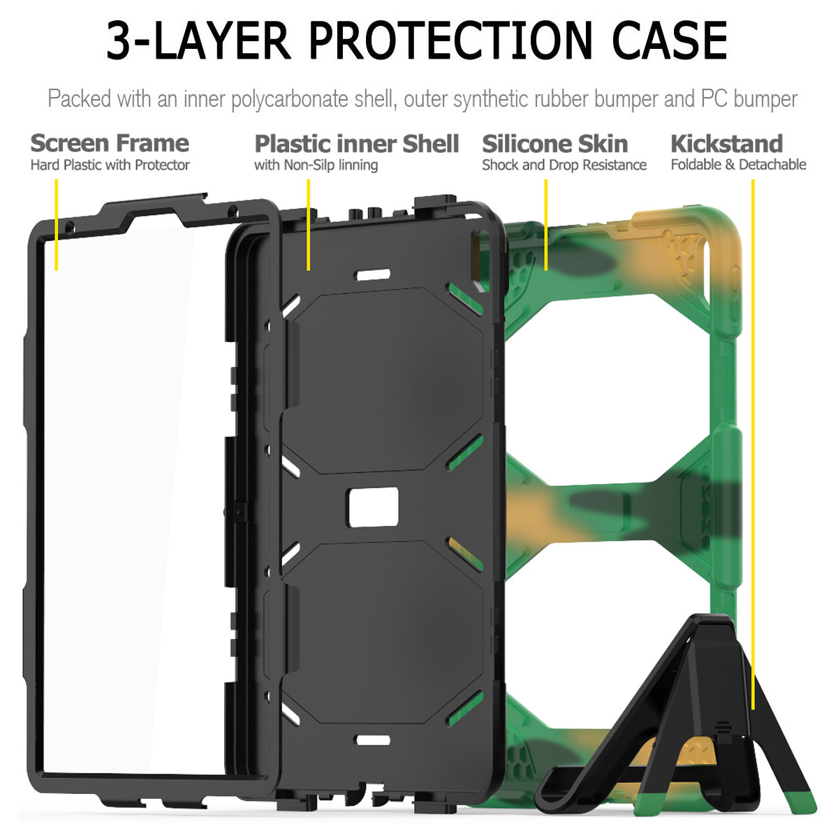 For-Apple-iPad-Pro-11-034-Inch-2018-with-Screen-Protector-Shockproof-Hybrid-Case thumbnail 56