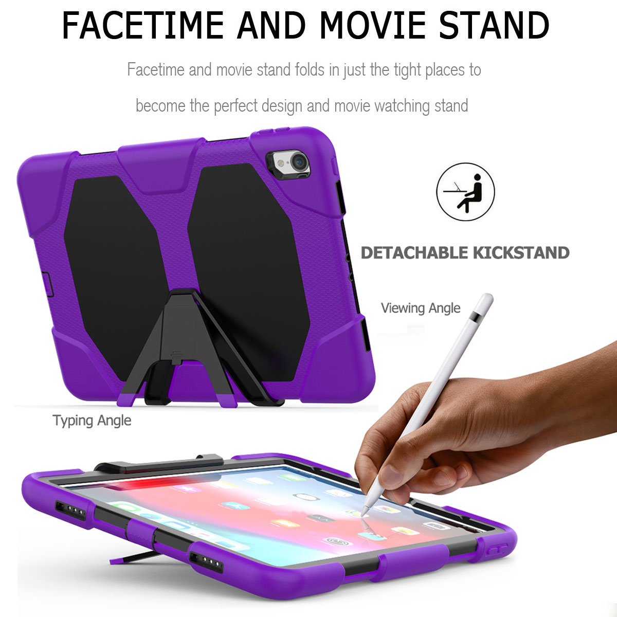 For-Apple-iPad-Pro-11-034-Inch-2018-with-Screen-Protector-Shockproof-Hybrid-Case thumbnail 64