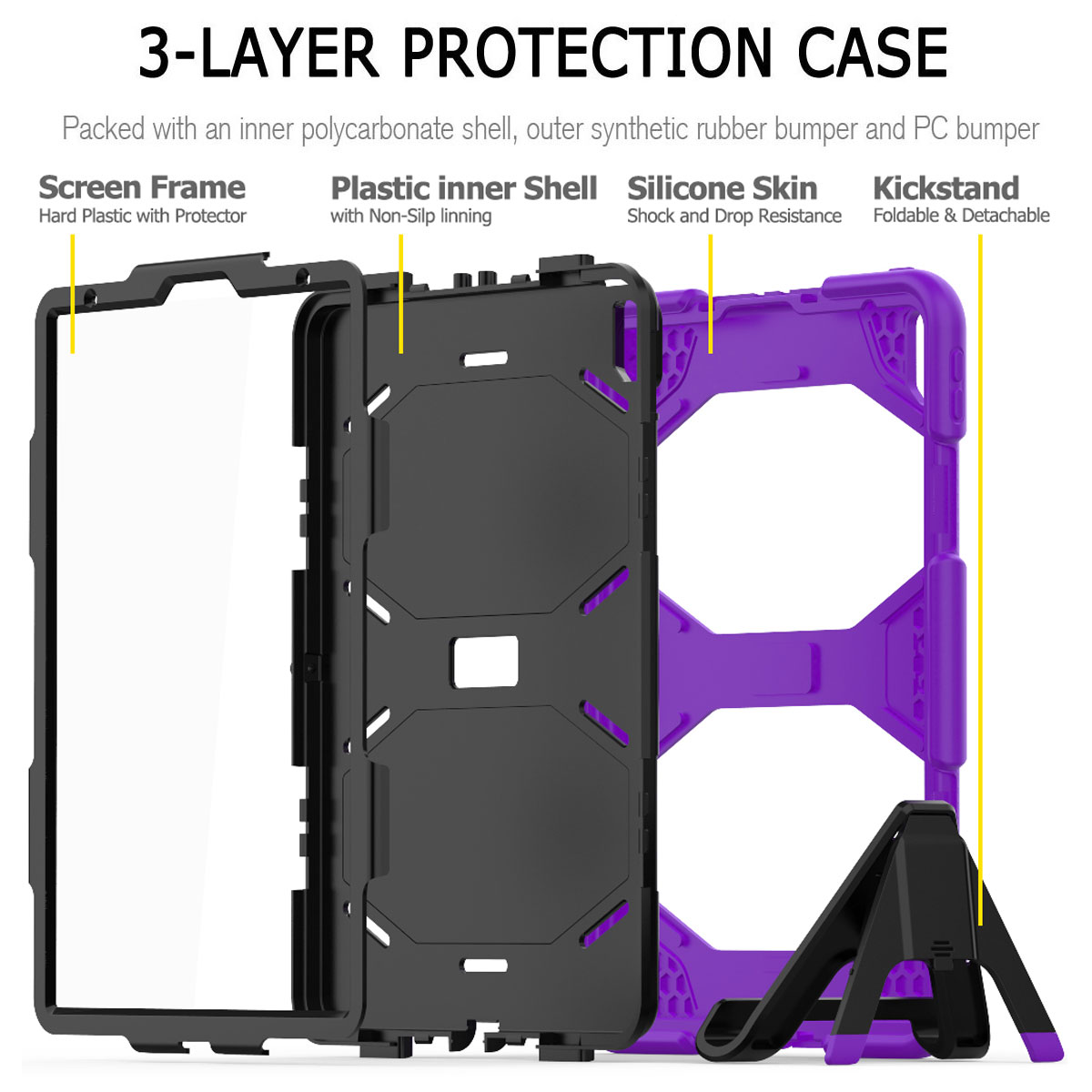 For-Apple-iPad-Pro-11-034-Inch-2018-with-Screen-Protector-Shockproof-Hybrid-Case thumbnail 63