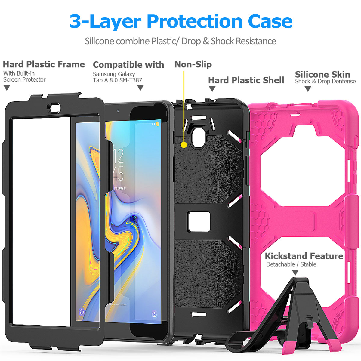 Rugged-Hard-Case-For-Samsung-Galaxy-Tab-A-8-0-2018-SM-T387-with-Screen-Protector thumbnail 14