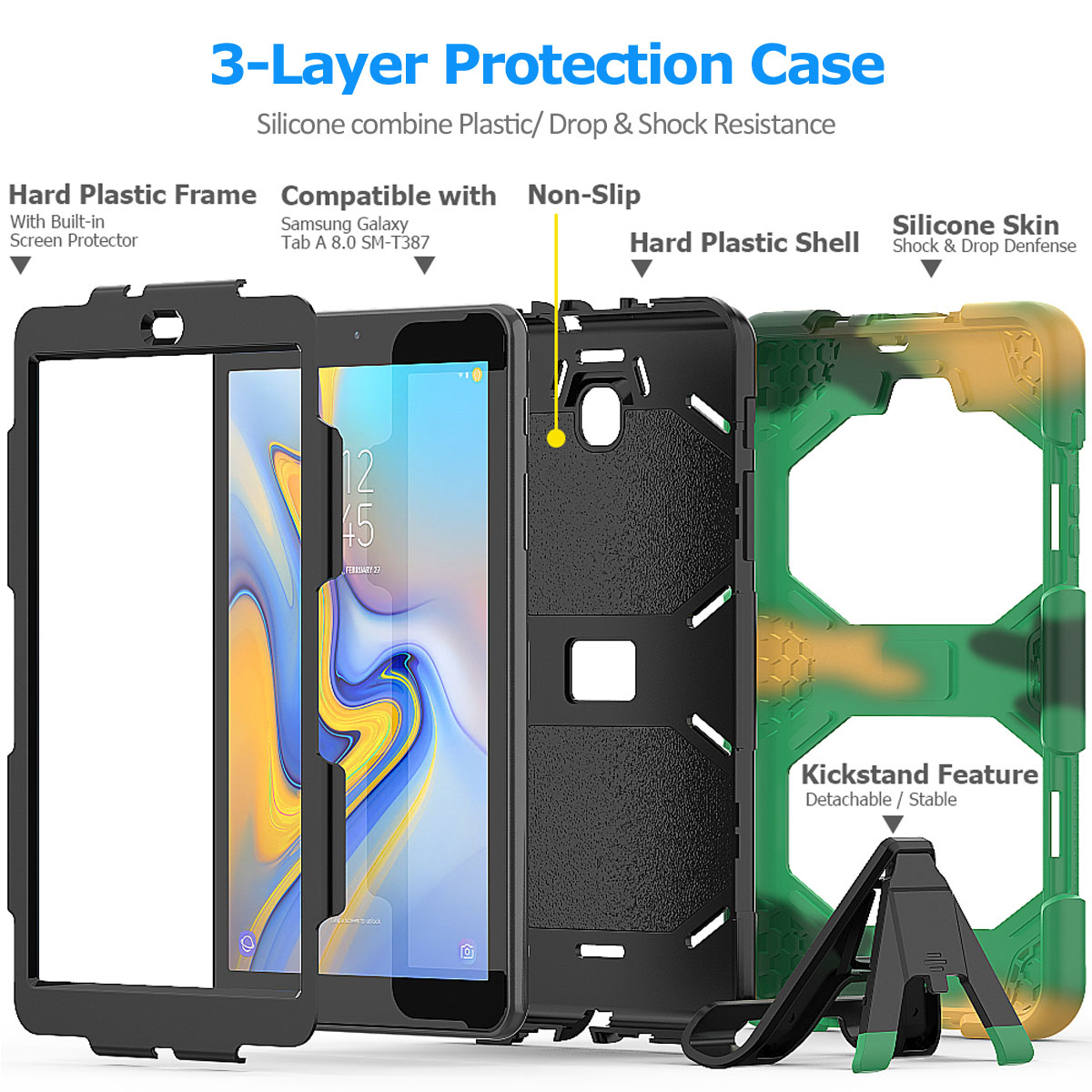 Rugged-Hard-Case-For-Samsung-Galaxy-Tab-A-8-0-2018-SM-T387-with-Screen-Protector thumbnail 21