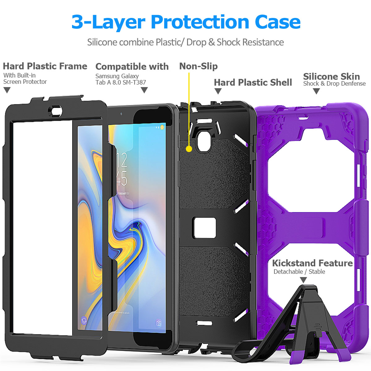 Rugged-Hard-Case-For-Samsung-Galaxy-Tab-A-8-0-2018-SM-T387-with-Screen-Protector thumbnail 28