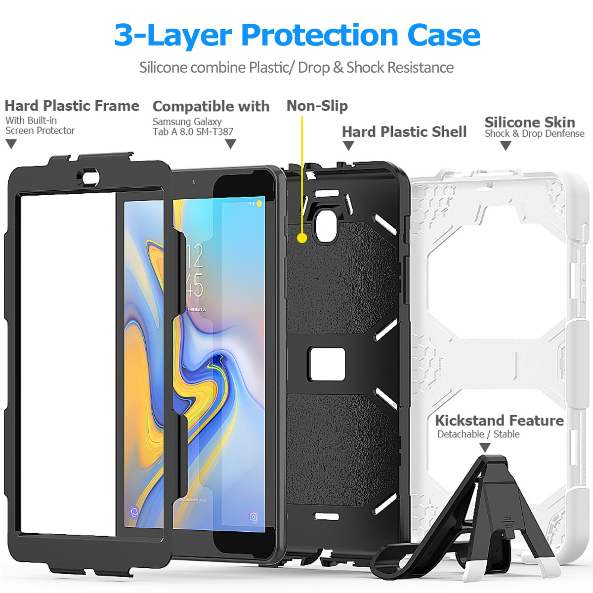 Rugged-Hard-Case-For-Samsung-Galaxy-Tab-A-8-0-2018-SM-T387-with-Screen-Protector thumbnail 35