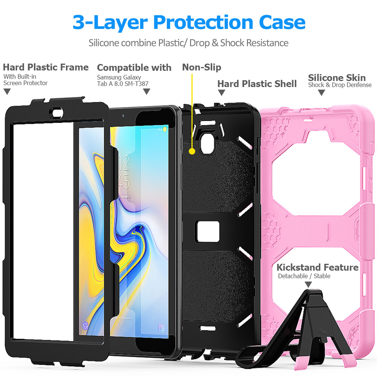 Rugged-Hard-Case-For-Samsung-Galaxy-Tab-A-8-0-2018-SM-T387-with-Screen-Protector thumbnail 49