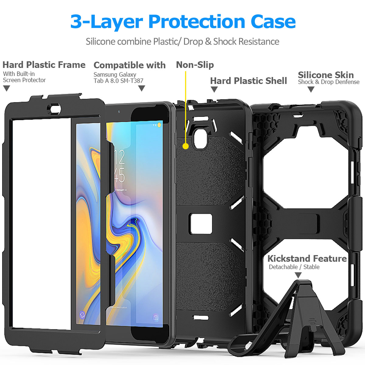 Rugged-Hard-Case-For-Samsung-Galaxy-Tab-A-8-0-2018-SM-T387-with-Screen-Protector thumbnail 56