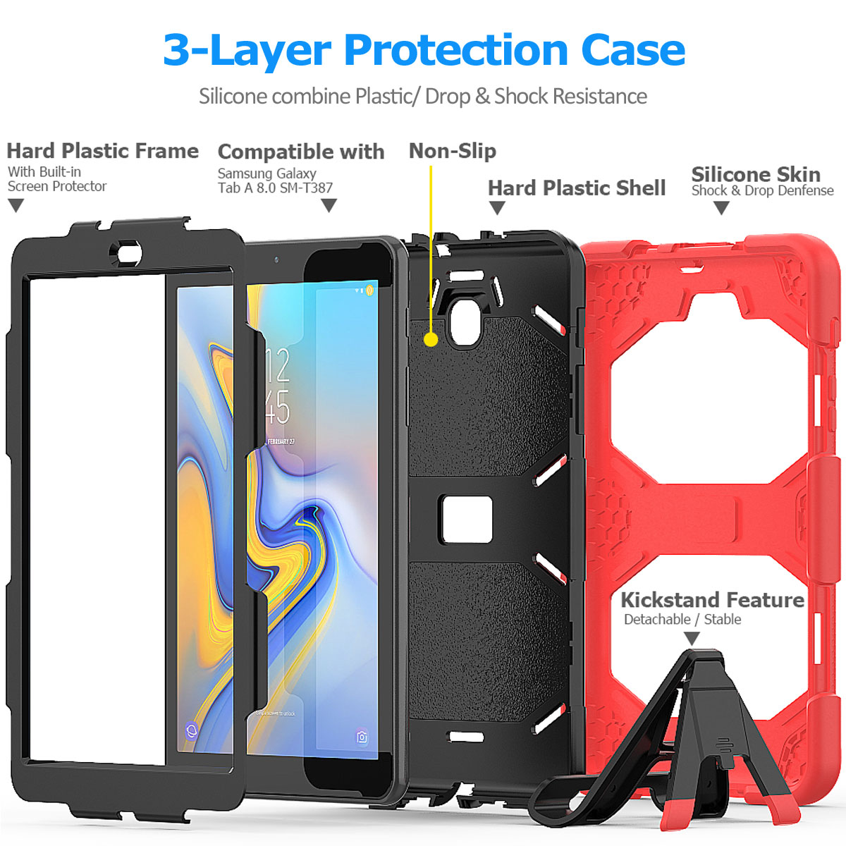 Rugged-Hard-Case-For-Samsung-Galaxy-Tab-A-8-0-2018-SM-T387-with-Screen-Protector thumbnail 63