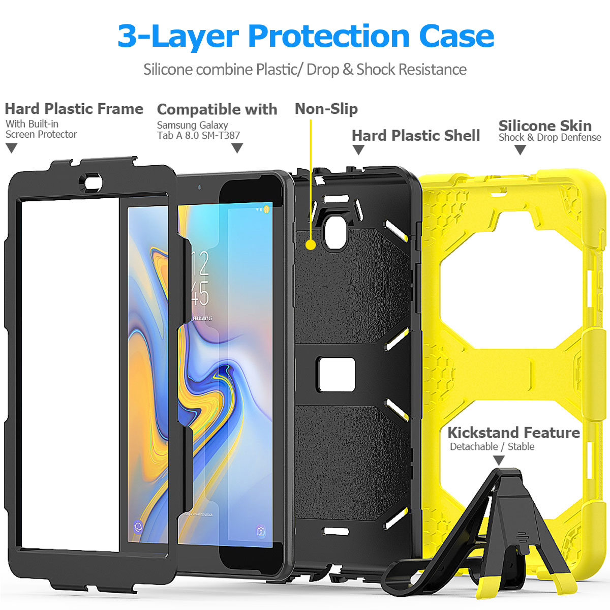 Rugged-Hard-Case-For-Samsung-Galaxy-Tab-A-8-0-2018-SM-T387-with-Screen-Protector thumbnail 70