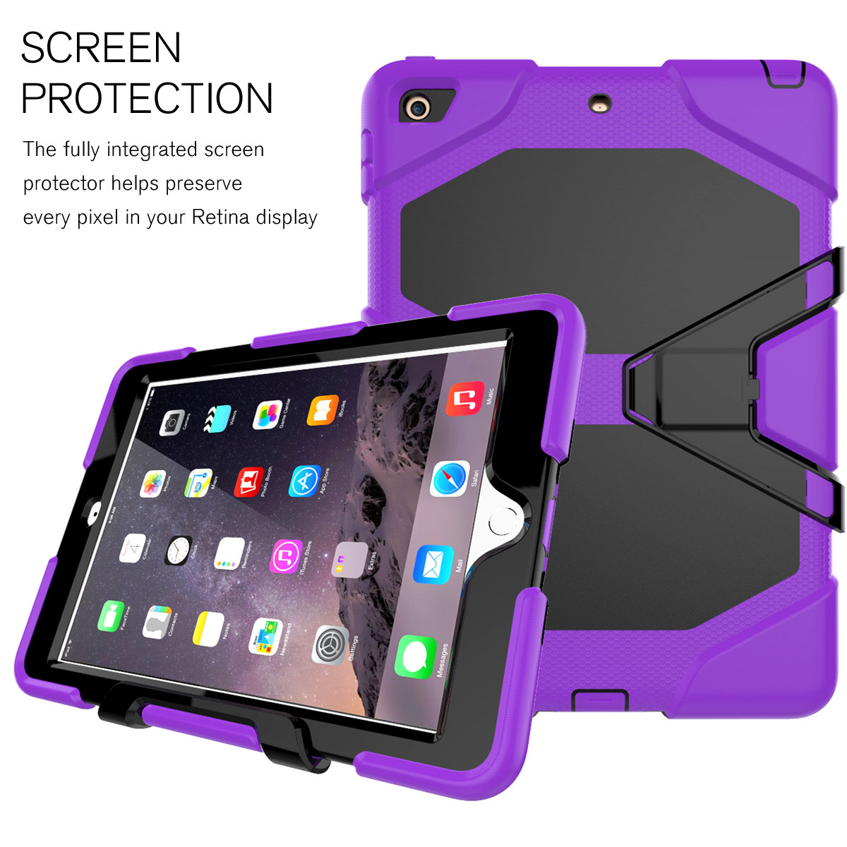 shockproof heavy duty hybrid hard case stand for ipad 2017. Black Bedroom Furniture Sets. Home Design Ideas