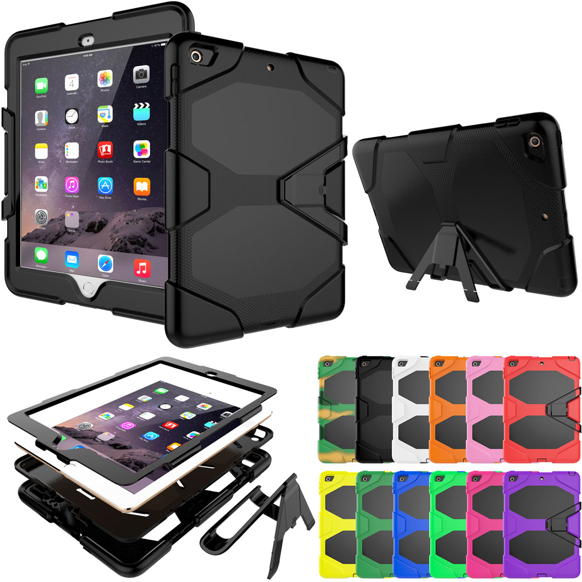 new style 884d9 9c026 Details about Hybrid Rubber Shockproof Stand Protective Case For Apple iPad  9.7 2018 6th Gen