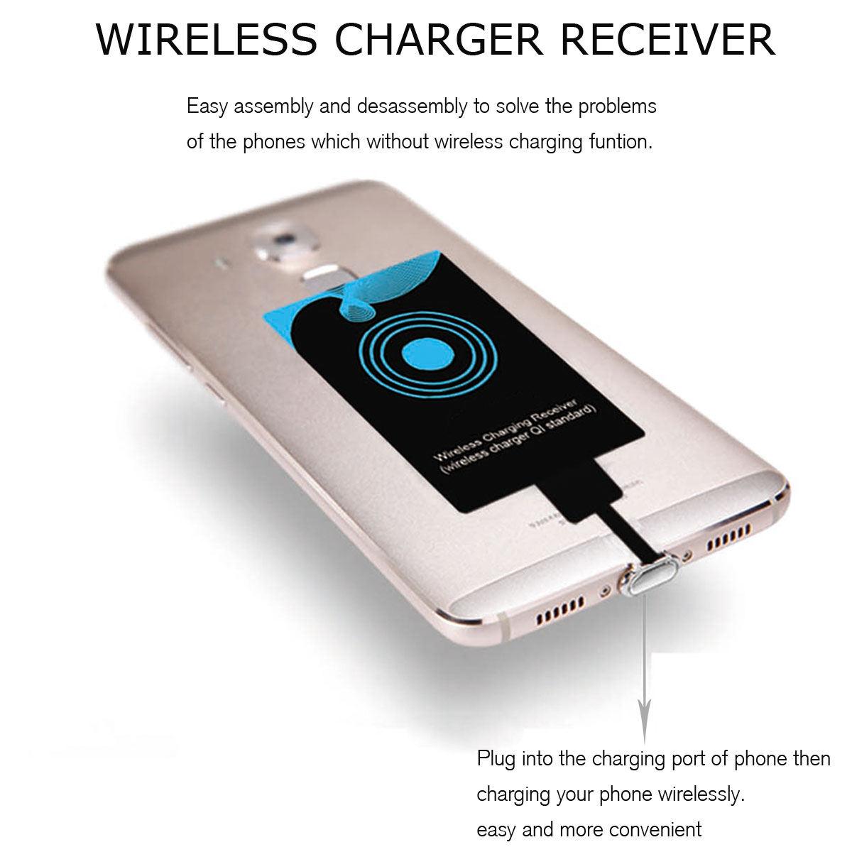 fast qi wireless power charging receiver for iphone samsung type c port lg phone ebay. Black Bedroom Furniture Sets. Home Design Ideas